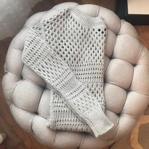 American Eagle Outfitters Silver Crochet Sweater